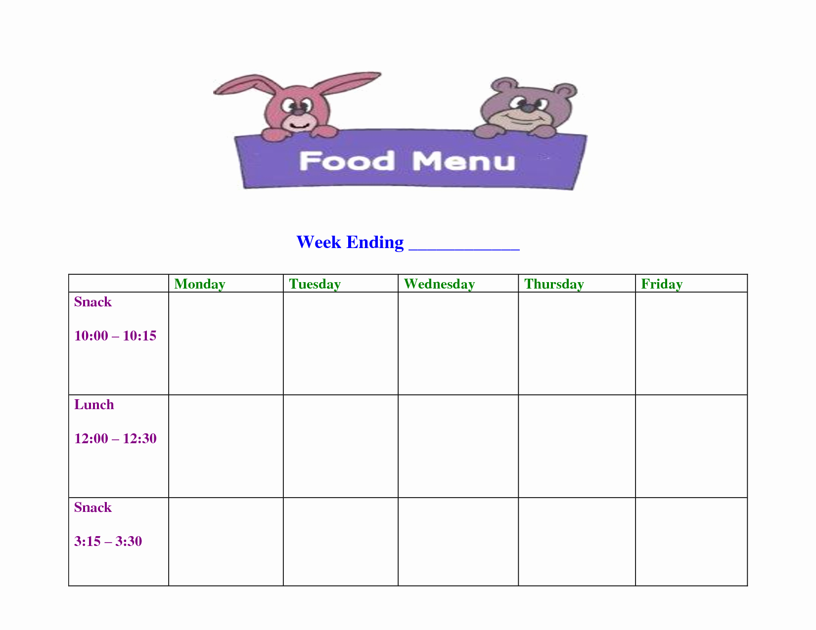 Blank School Lunch Menu Template Best Of 7 Best Of Free Printable Blank Menu for Day Care