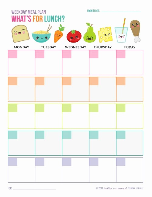 Blank School Lunch Menu Template Best Of Free Printable Weekday Lunch Plan Sheet Great for