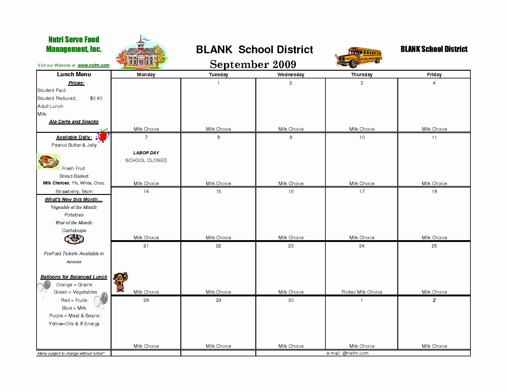 Blank School Lunch Menu Template Elegant 7 Best Of School Menu Template Printable School