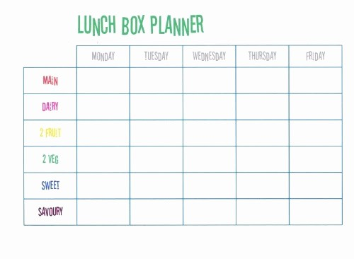 Blank School Lunch Menu Template Fresh Beccis Domestic Bliss Lunch Box Planner Free Printable