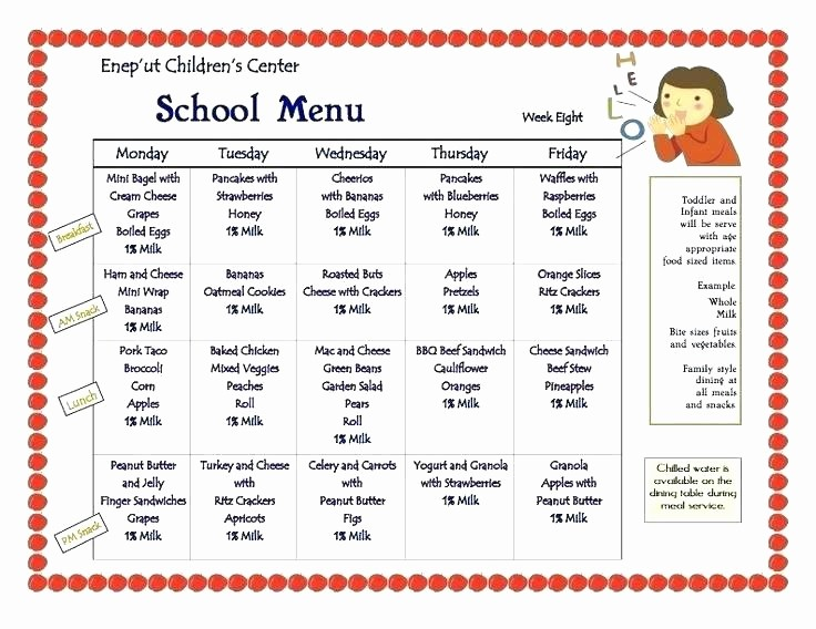 Blank School Lunch Menu Template Fresh Daycare Menu Template Lunch Meals In Home Plan Free Weekly