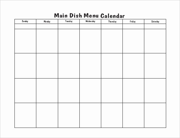 Blank School Lunch Menu Template Inspirational Blank School Lunch Menu Template Blank Menu Calendar