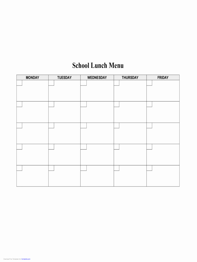 Blank School Lunch Menu Template Lovely 2019 Food Menu Template Fillable Printable Pdf & forms