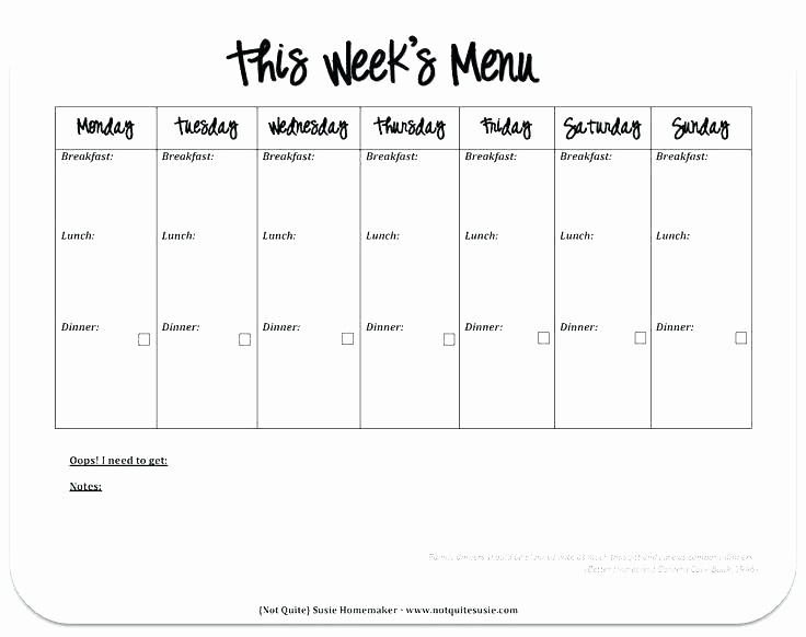 Blank School Lunch Menu Template Lovely Weekly Lunch Menu Template E Week Planner Recipe