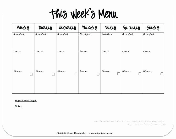 Blank School Lunch Menu Template Lovely Weekly Lunch Menu Template E Week Planner Recipe