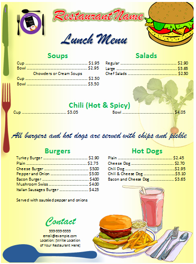 Blank School Lunch Menu Template Unique Menu Template Word