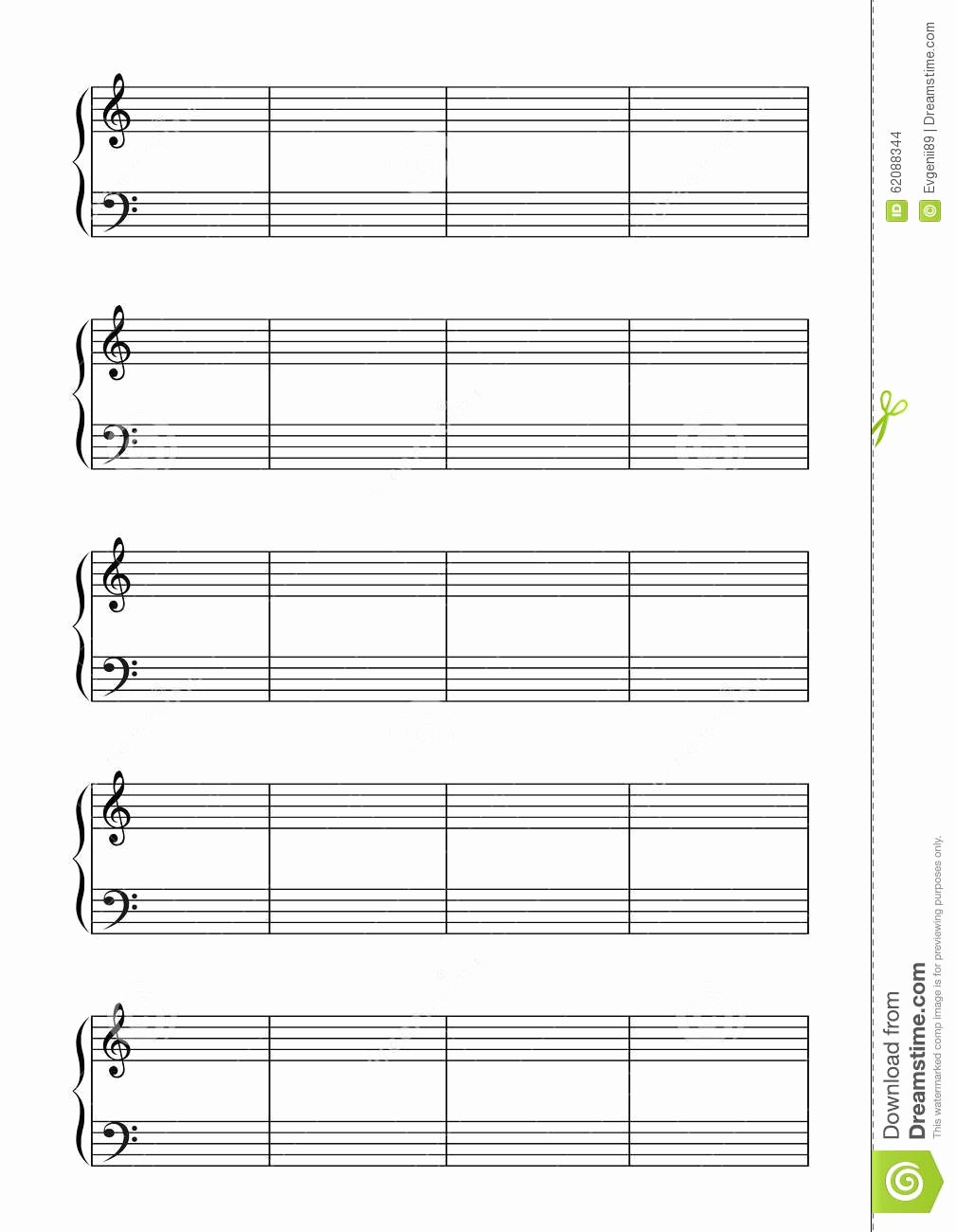 Blank Sheet Music Bass Clef Lovely Music Note Stave with Treble and Bass Clefs A4 Stock