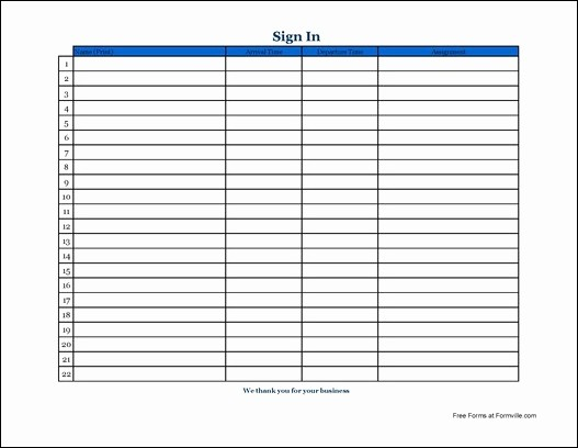 Blank Sign In Sheet Template Best Of Free Basic Appointment Sign In Sheet Wide From formville