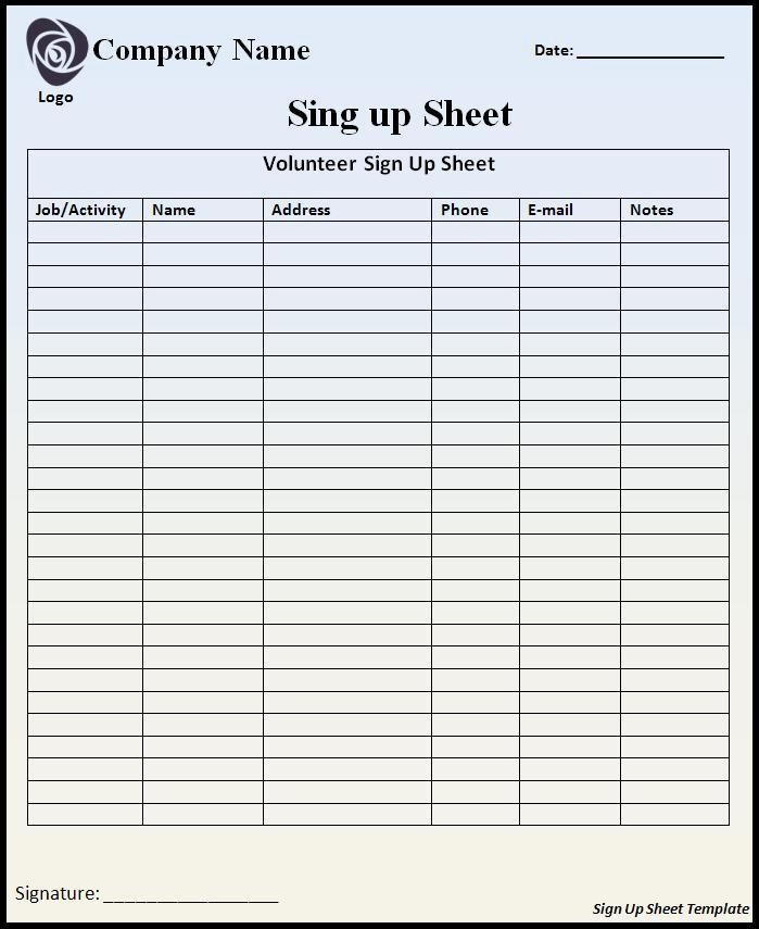 Blank Sign Up Sheet Template Best Of Sign Up Sheet Template