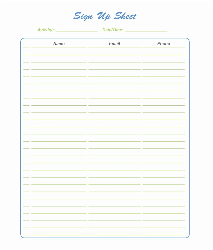 Blank Sign Up Sheet Template Elegant Sign Up Sheets 58 Free Word Excel Pdf Documents