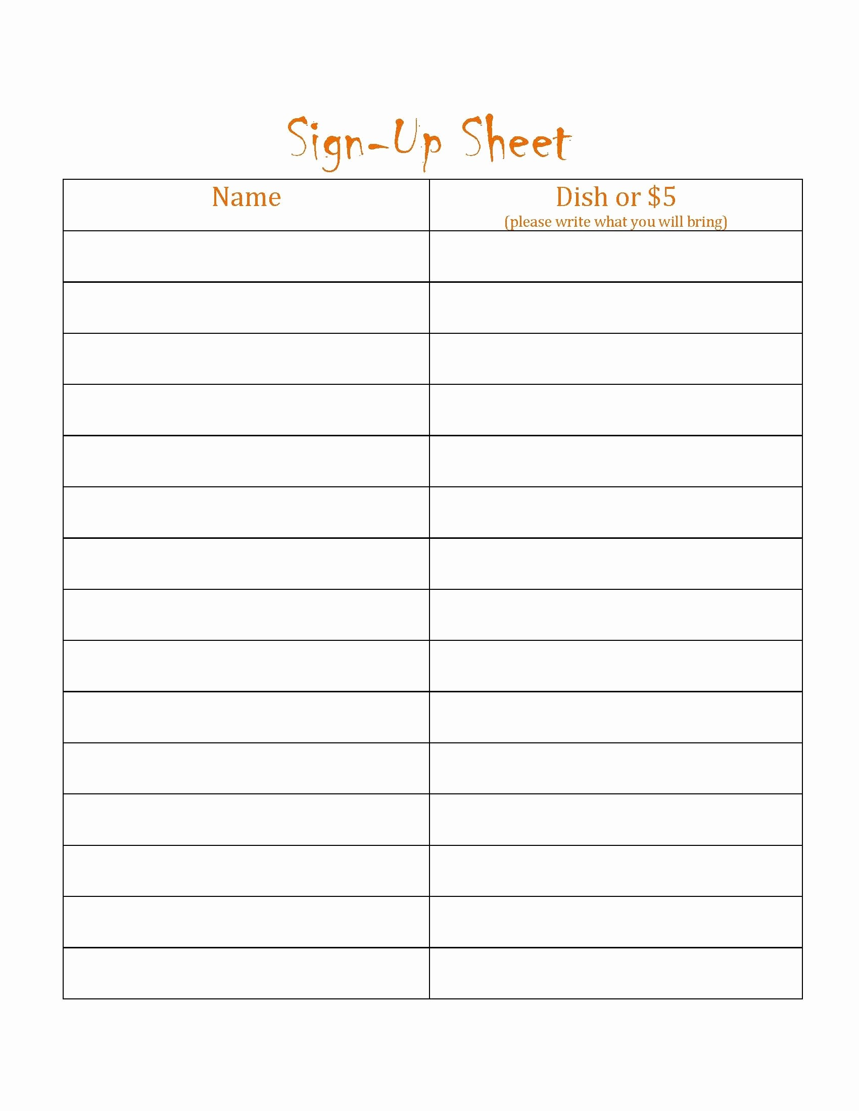 Blank Sign Up Sheet Template Fresh Blanks Potluck Signs Up Sheets Free