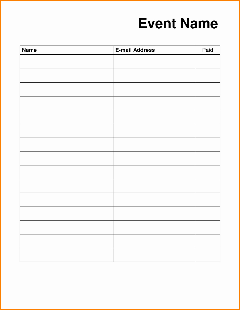 Blank Sign Up Sheet Template Inspirational Blank Sign Up Sheet Printable