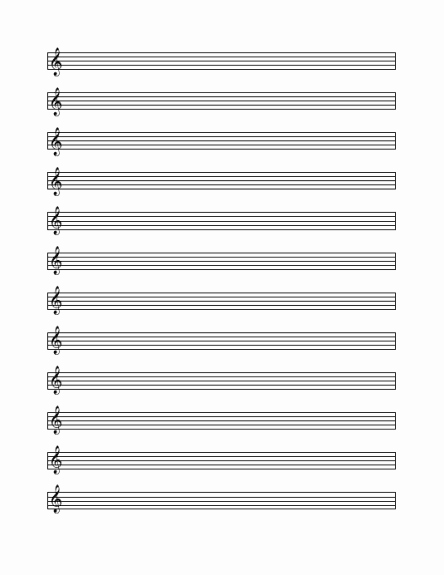 Blank Treble Clef Staff Paper Lovely Treble Cleff Staff Paper 12 Per Page