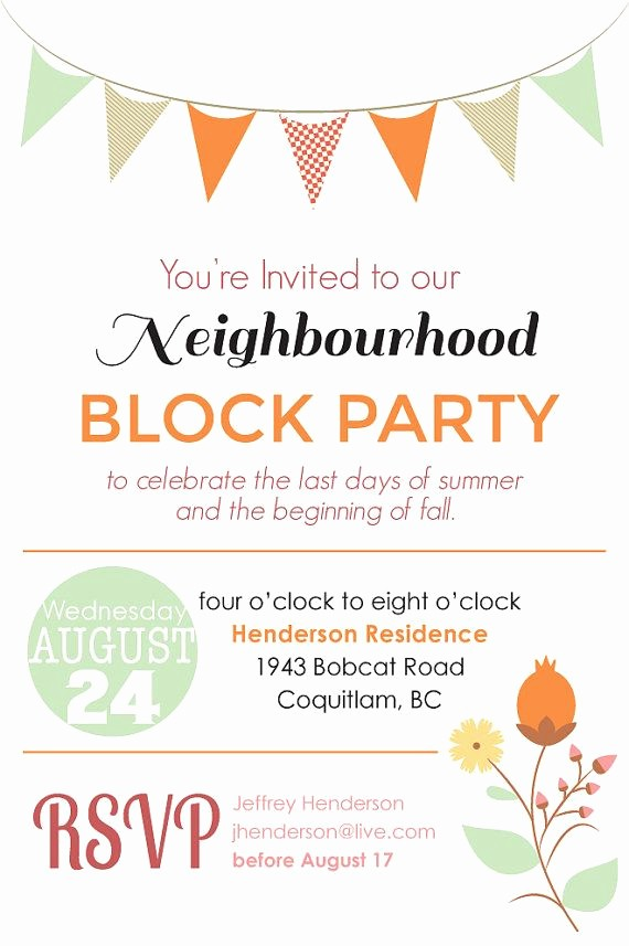 Block Party Flyer Templates Free Beautiful Block Party Invitation Digital File by Blankcanvasdesignco