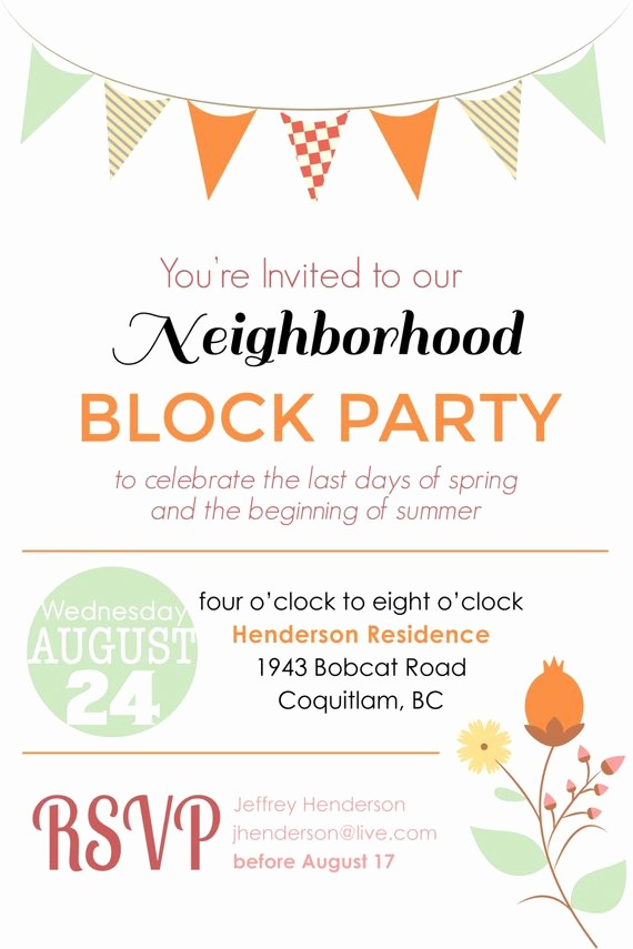 Block Party Flyer Templates Free Beautiful Items Similar to Summer Block Party Backyard Bbq