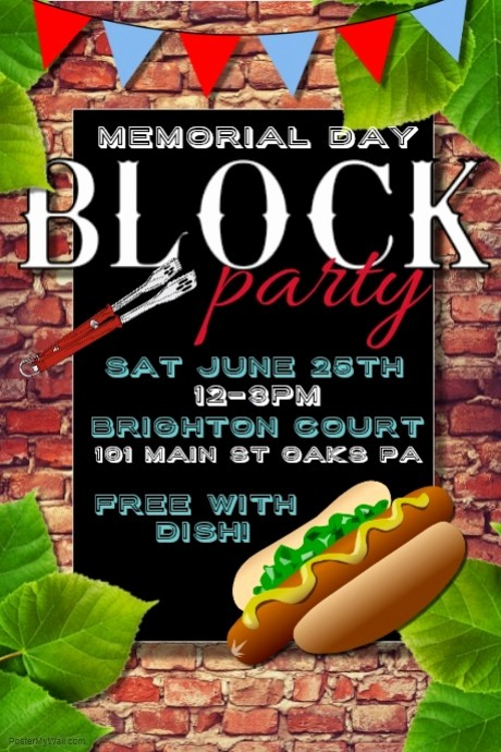 Block Party Flyer Templates Free Beautiful Memorial Day Template
