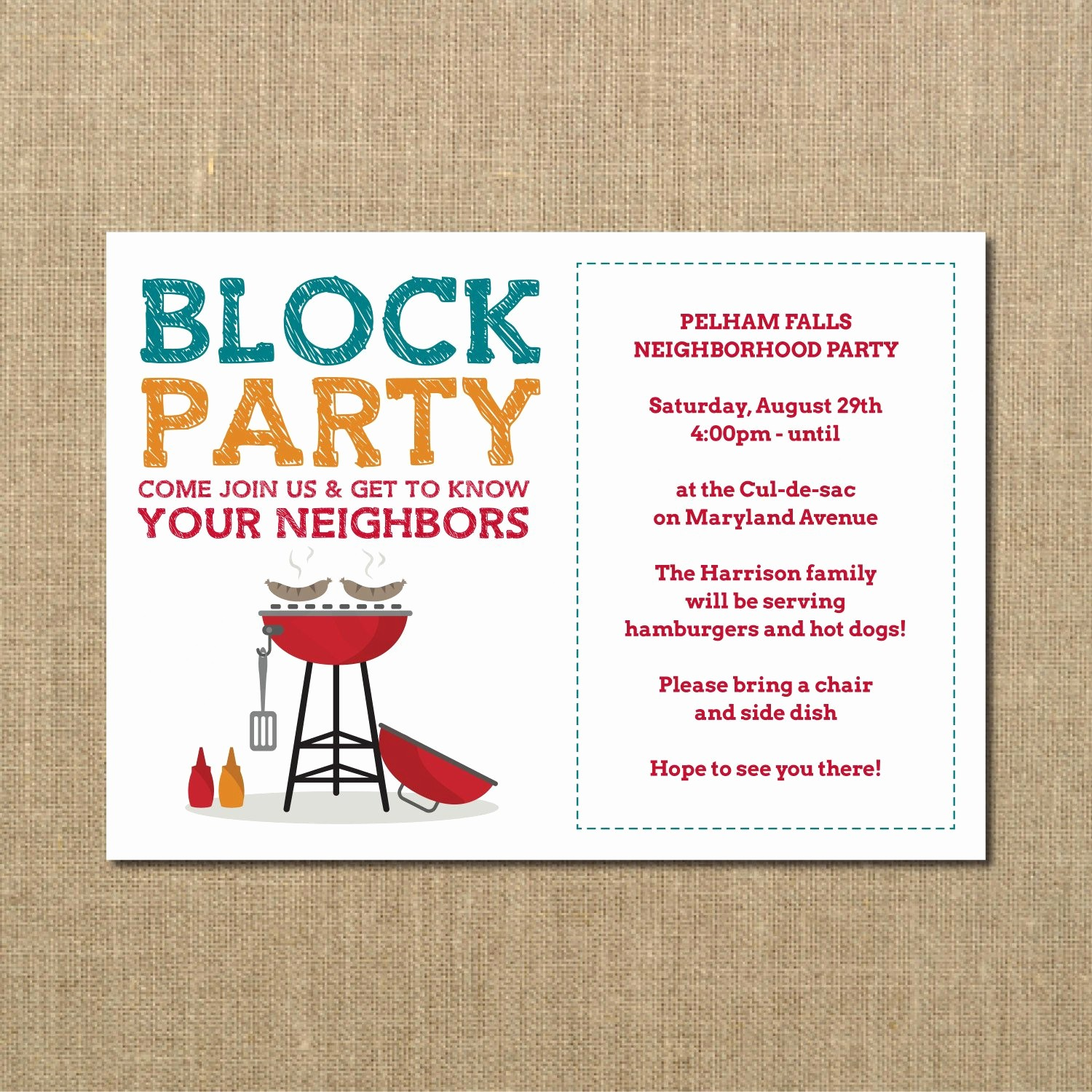 Block Party Flyer Templates Free New Neighborhood Block Party Cookout Invitation Grilling Out