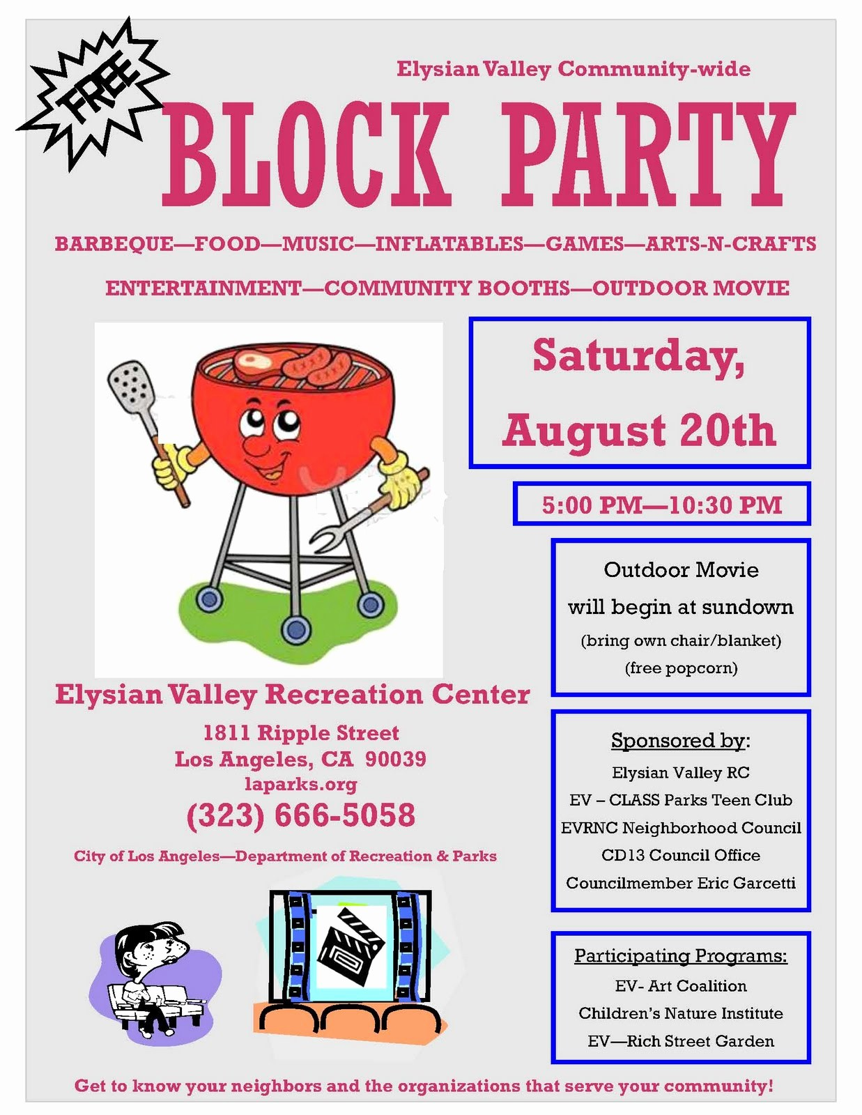Block Party Flyer Templates Free Unique Lacityorgcd13 Elysian Valley Block Party On August 20