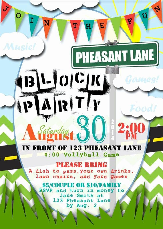 Block Party Flyer Templates Free Unique Neighborhood Block Party Personalized Printable Invitation