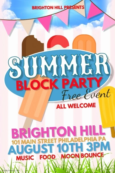 Block Party Flyer Templates Free Unique Summer Block Party Template