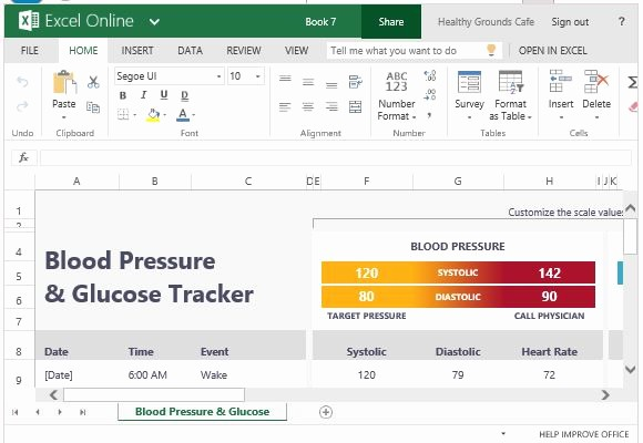 Blood Pressure and Glucose Log Beautiful Blood Pressure and Glucose Tracker for Excel