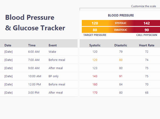 Blood Pressure and Glucose Log Fresh Medical Design Presentation Widescreen Fice Templates