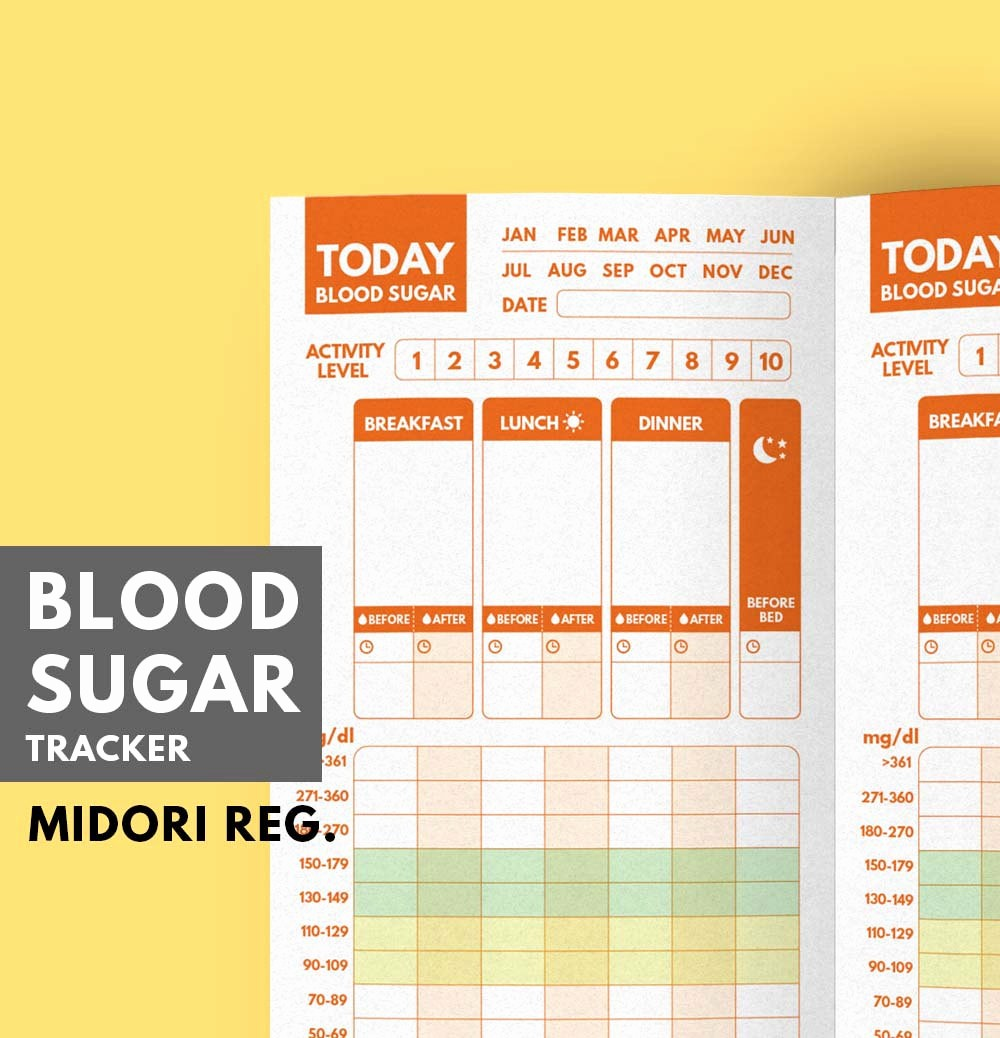 Blood Pressure and Glucose Tracker Fresh Midori Insert Blood Sugar Tracker Type 1 Diabetes Planner