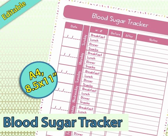 Blood Pressure and Glucose Tracker Lovely Blood Sugar Tracker Editable Blood Sugar Log Track Blood
