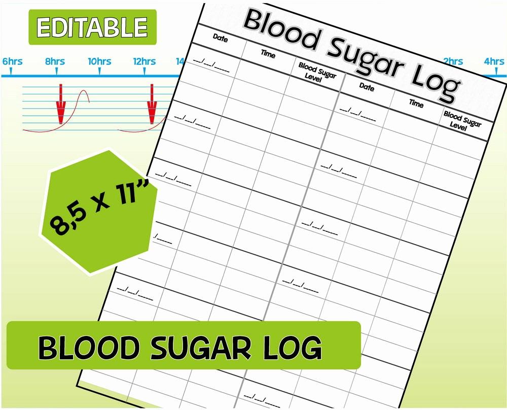 Blood Pressure and Glucose Tracker New Blood Sugar Log Diabetic Log Editable Blood Sugar Tracker