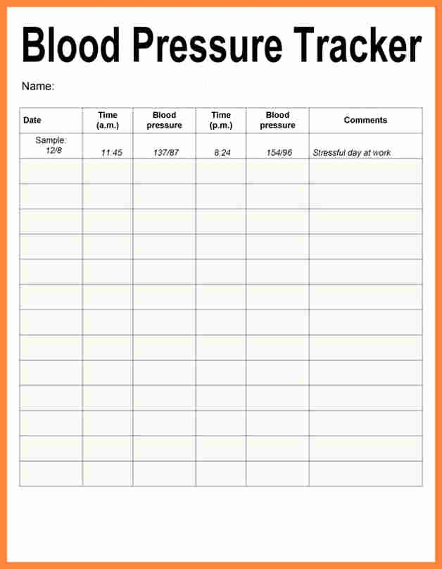 Blood Pressure Log Excel Template Fresh Blood Pressure Tracker