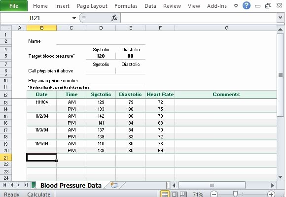 Blood Pressure Log Excel Template Inspirational Free Blood Pressure Tracker Template for Excel
