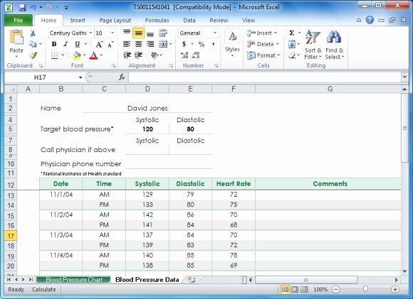 Blood Pressure Log Excel Template Lovely Create Your Blood Pressure Chart with Free Excel Template