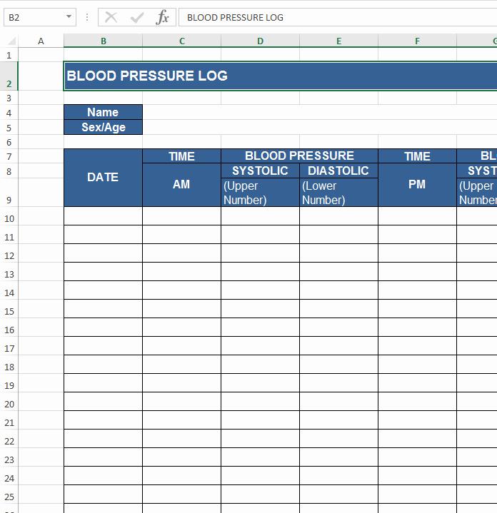 Blood Pressure Log Excel Template Lovely Download Free Excel Examples Downloadexceltemplate