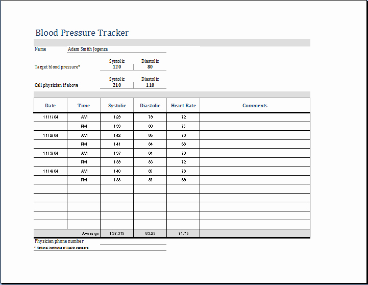 "Blood Pressure Log Excel Template New Search Results for ""two Column Chart Template Word"