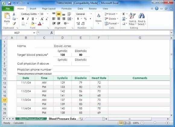Blood Pressure Log Excel Template Unique 5 Blood Pressure Chart Templates Word Excel Templates