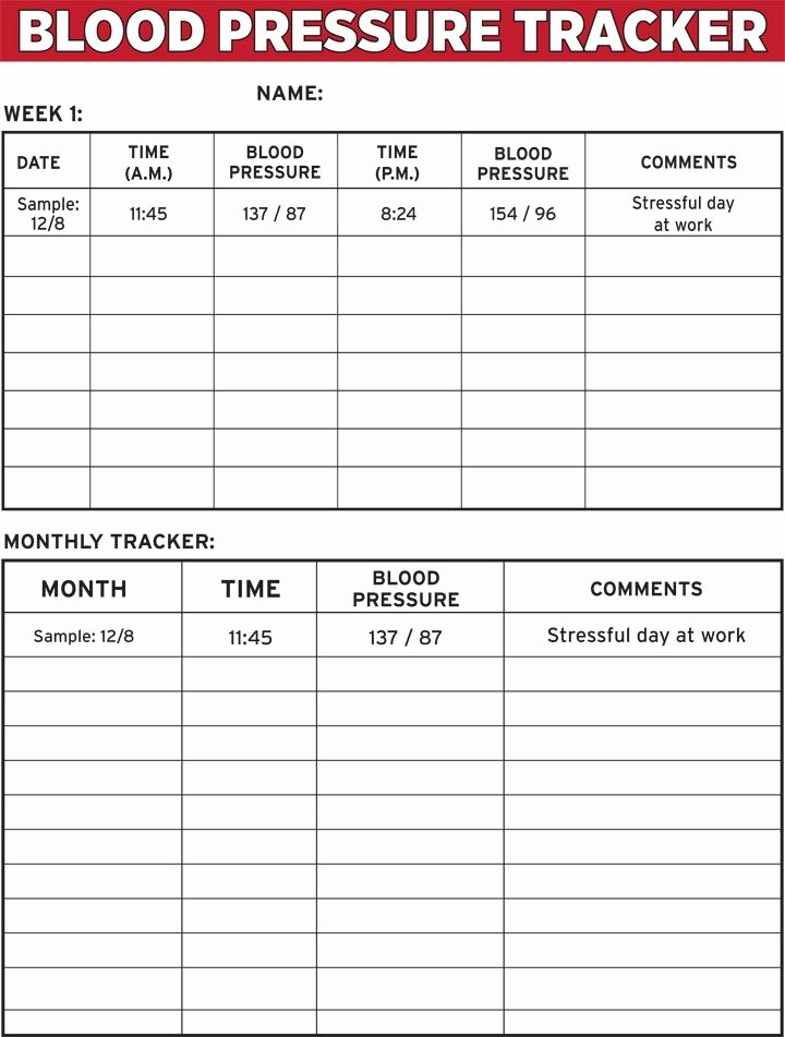Blood Pressure Log Print Out New Blood Pressure Tracker E Sheet the Dr Oz Show