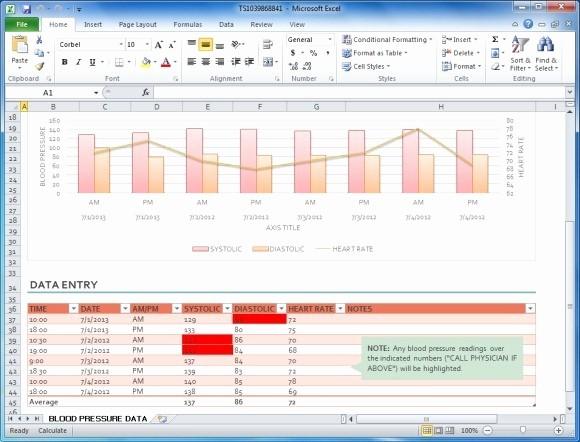 Blood Pressure Log Template Excel Elegant Blood Pressure Tracker Template for Excel
