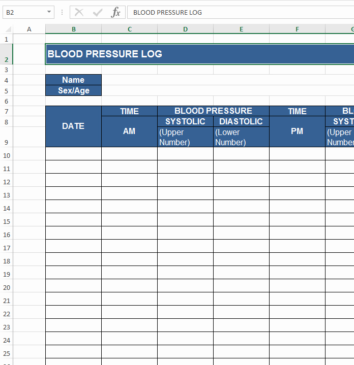 Blood Pressure Log Template Excel Fresh Download Free Excel Examples Downloadexceltemplate