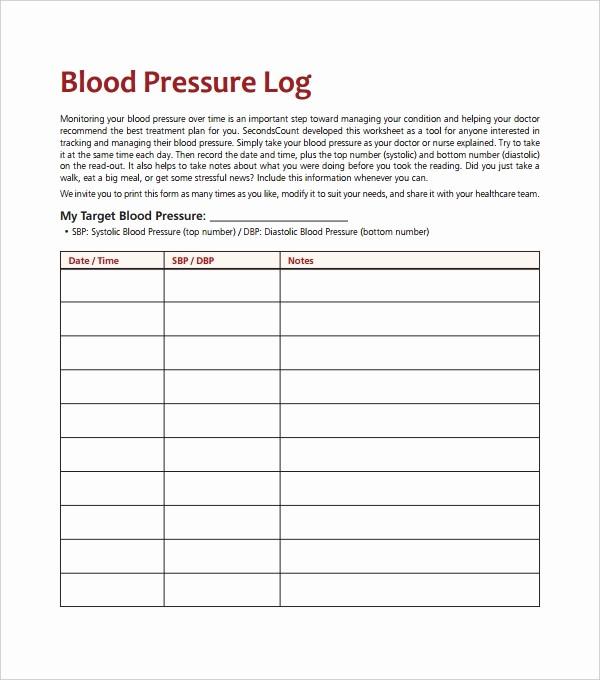 Blood Pressure Log Template Excel Lovely Blood Pressure Log Template – 10 Free Word Excel Pdf
