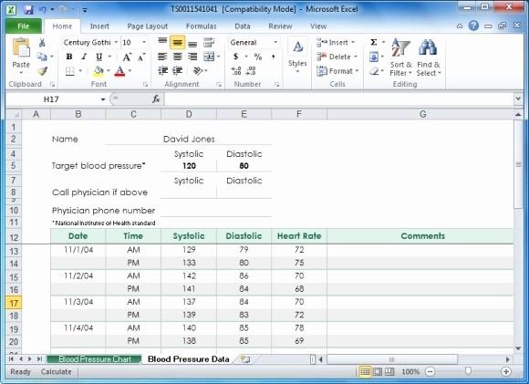 Blood Pressure Log Template Excel New Create Your Blood Pressure Chart with Free Excel Template