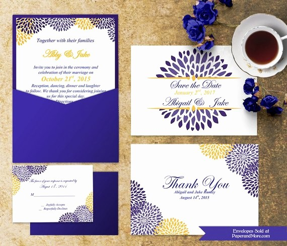 Blue and Gold Invitation Template Awesome Blue and Gold Save the Date Template Invitation Suite