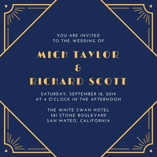 Blue and Gold Invitation Template Awesome Customize 65 Great Gatsby Invitation Templates Online Canva