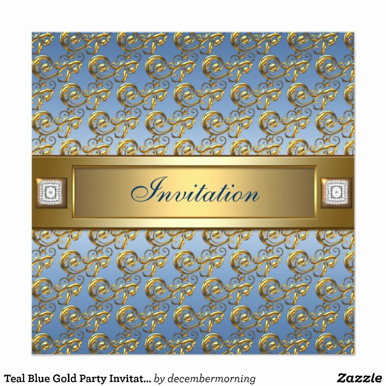 Blue and Gold Invitation Template Beautiful Teal Blue Gold Party Invitation Template
