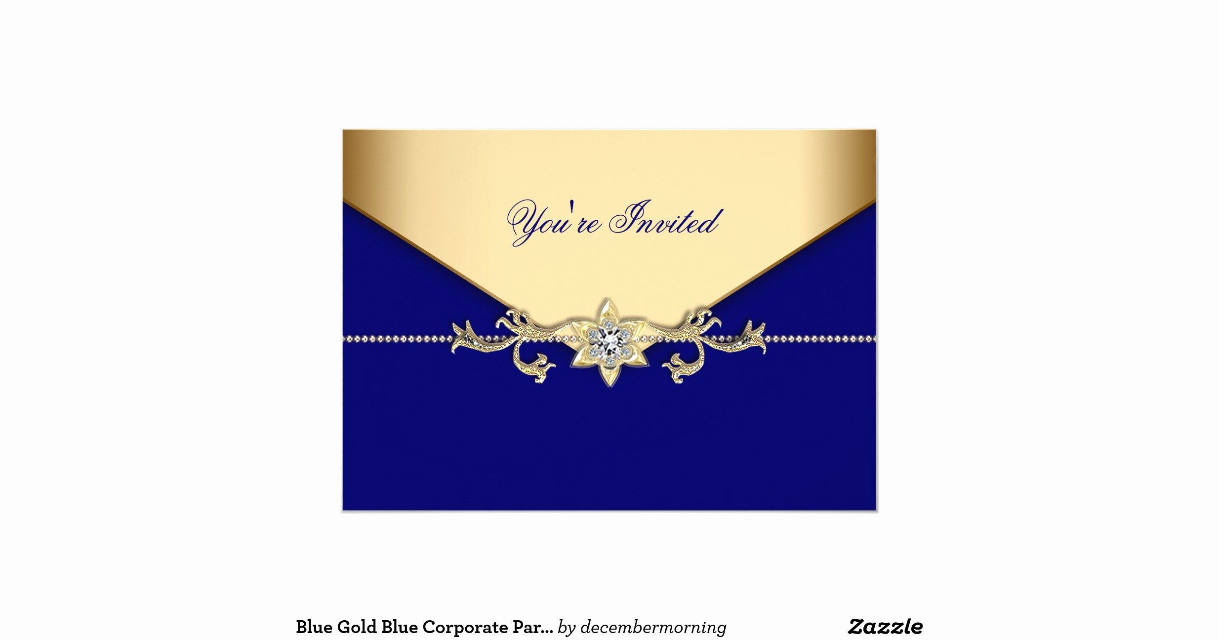 "Blue and Gold Invitation Template Best Of Blue Gold Blue Corporate Party event Template 5"" X 7"
