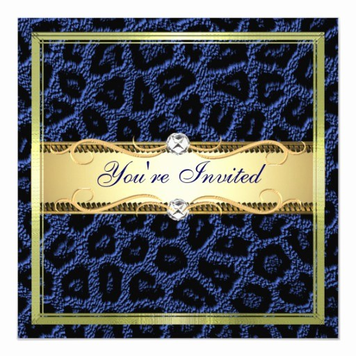 Blue and Gold Invitation Template Best Of Gold Blue Leopard Invitation Template