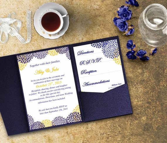 Blue and Gold Invitation Template Elegant Blue and Gold Wedding Invitation Template Invitation Suite