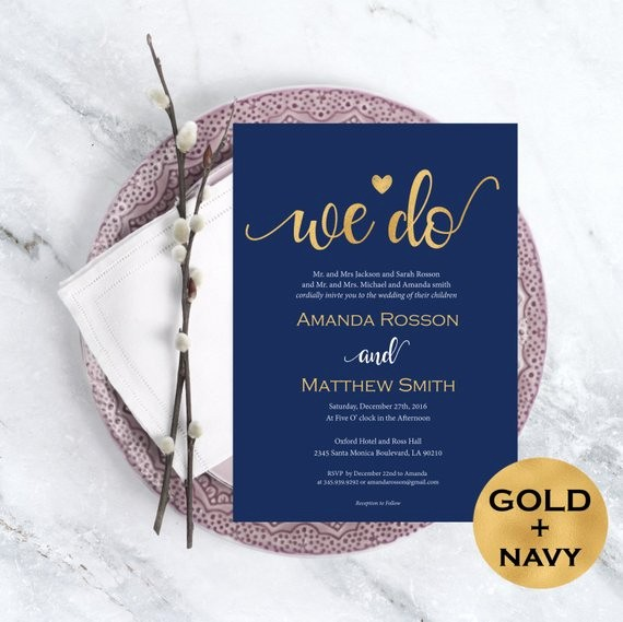 Blue and Gold Invitation Template Elegant Wedding Invitation Template Navy Blue and Gold Wedding