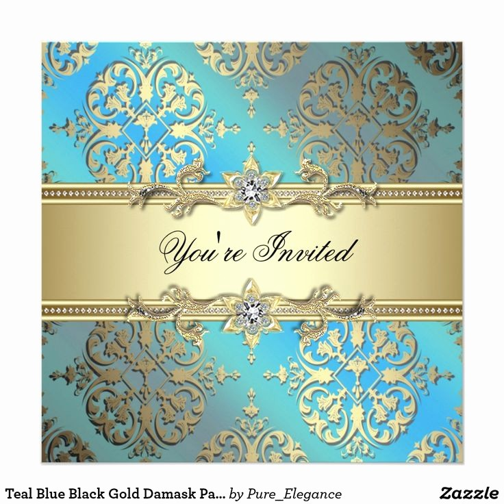 Blue and Gold Invitation Template Fresh Best 25 Damask Party Ideas On Pinterest