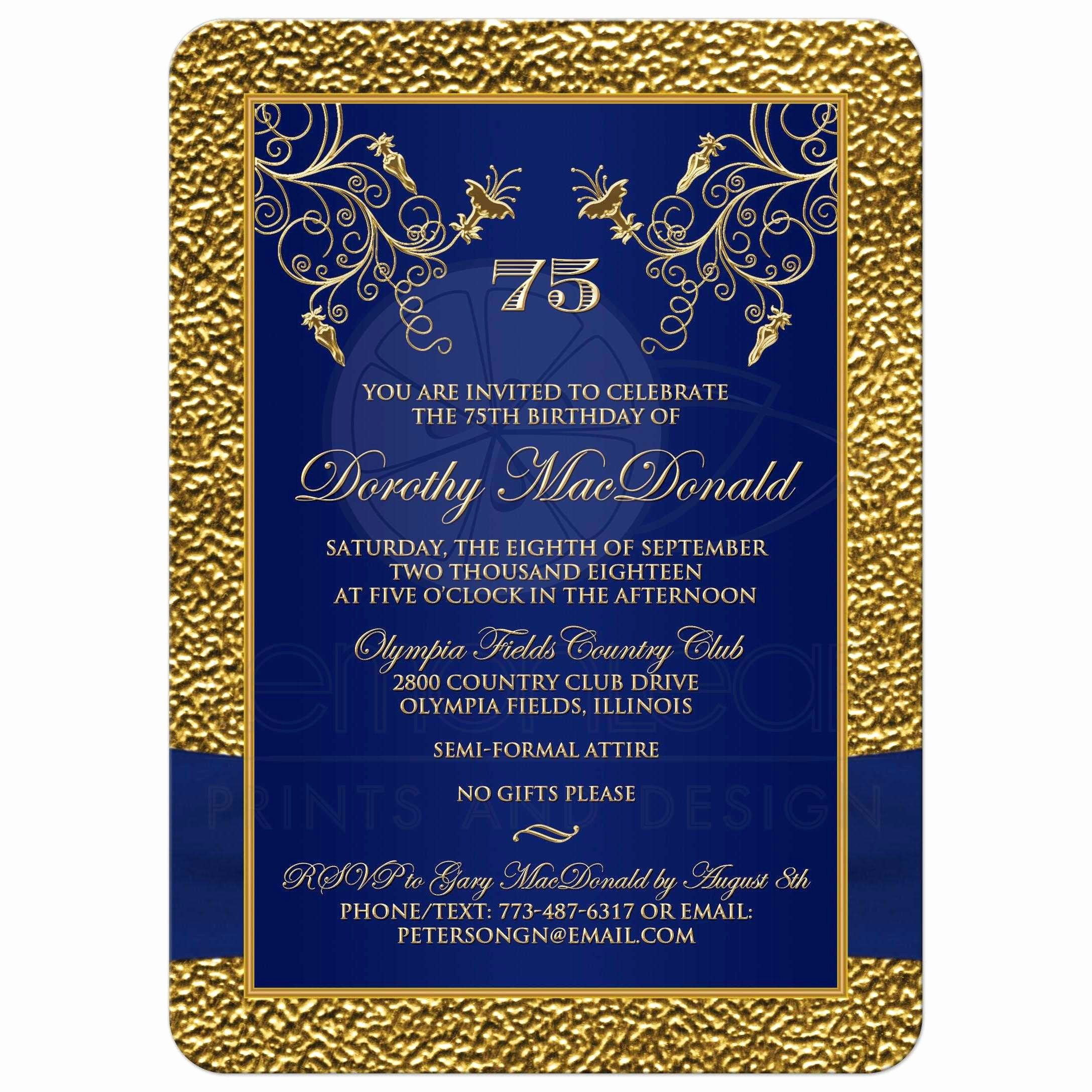 Blue and Gold Invitation Template Inspirational Printed Ribbon and Jewels Template Gold Navy Blue