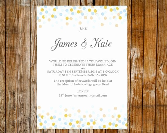 Blue and Gold Invitation Template Lovely Items Similar to Wedding Invitation Template Confetti